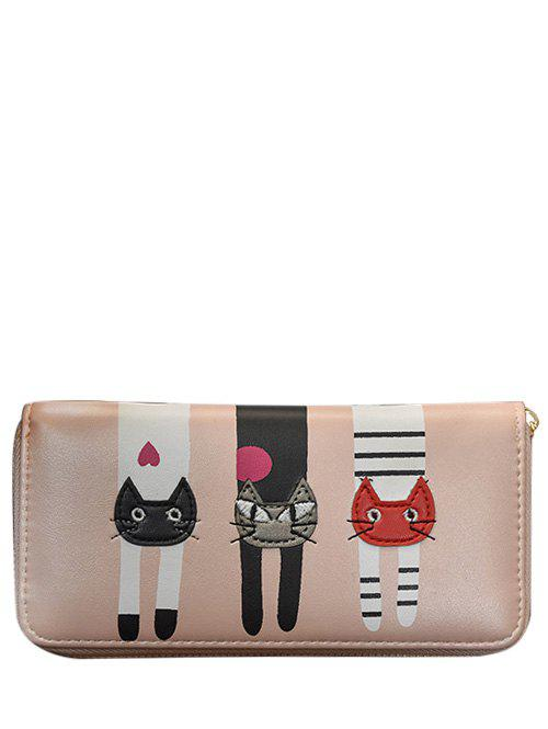 PU Leather Colour Spliced Cat Pattern Wallet - PINK