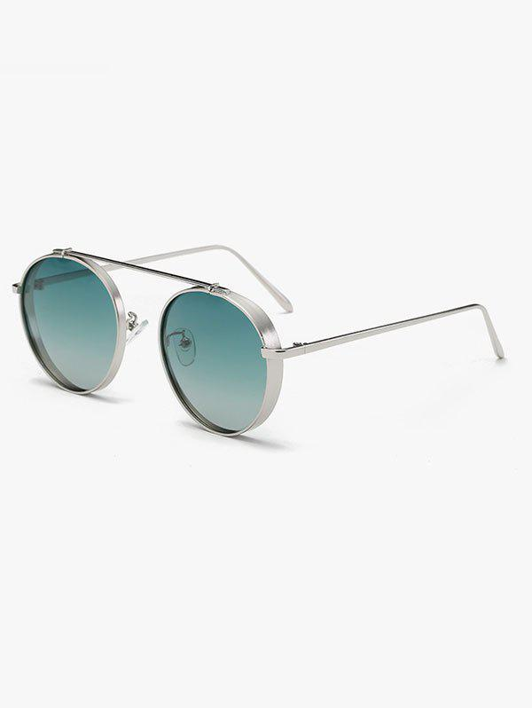 Driving Chunky Frame Crossbar Metal Oval Sunglasses - GREEN