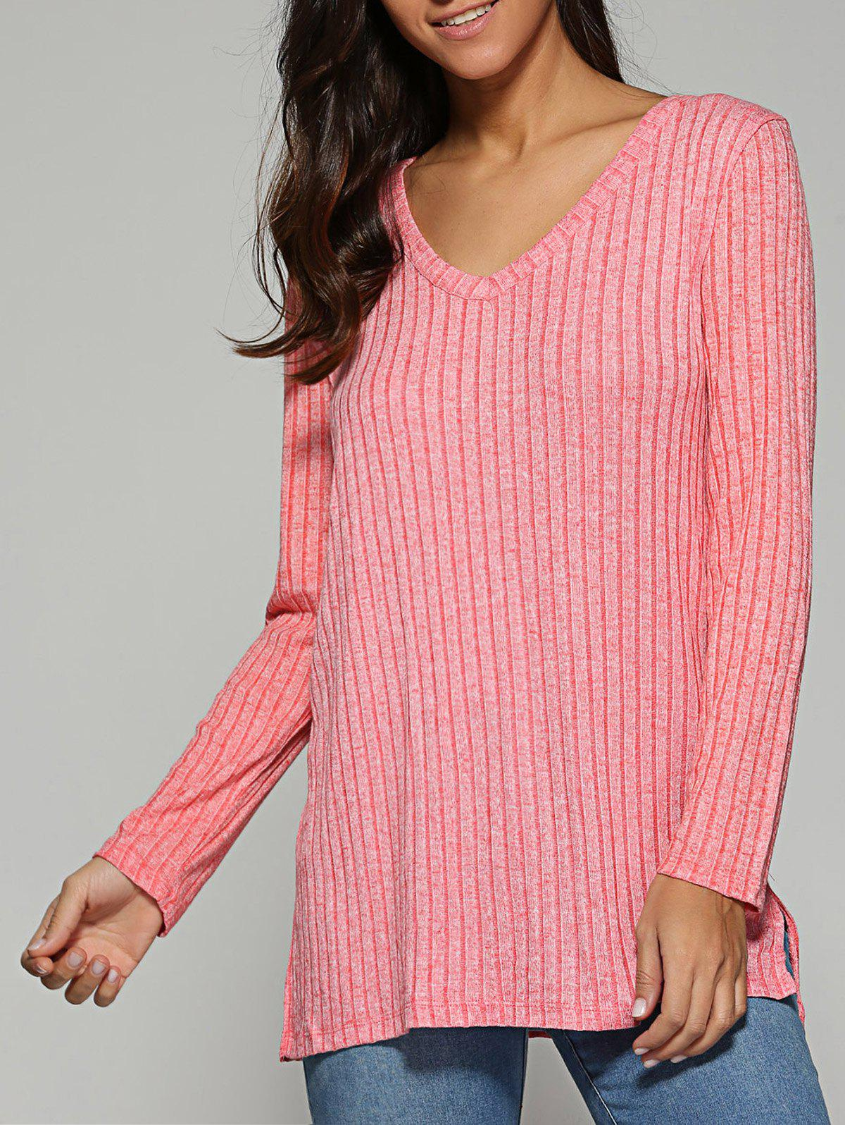 V Neck Ribbed Knitted Sweater ribbed knitted poncho pink