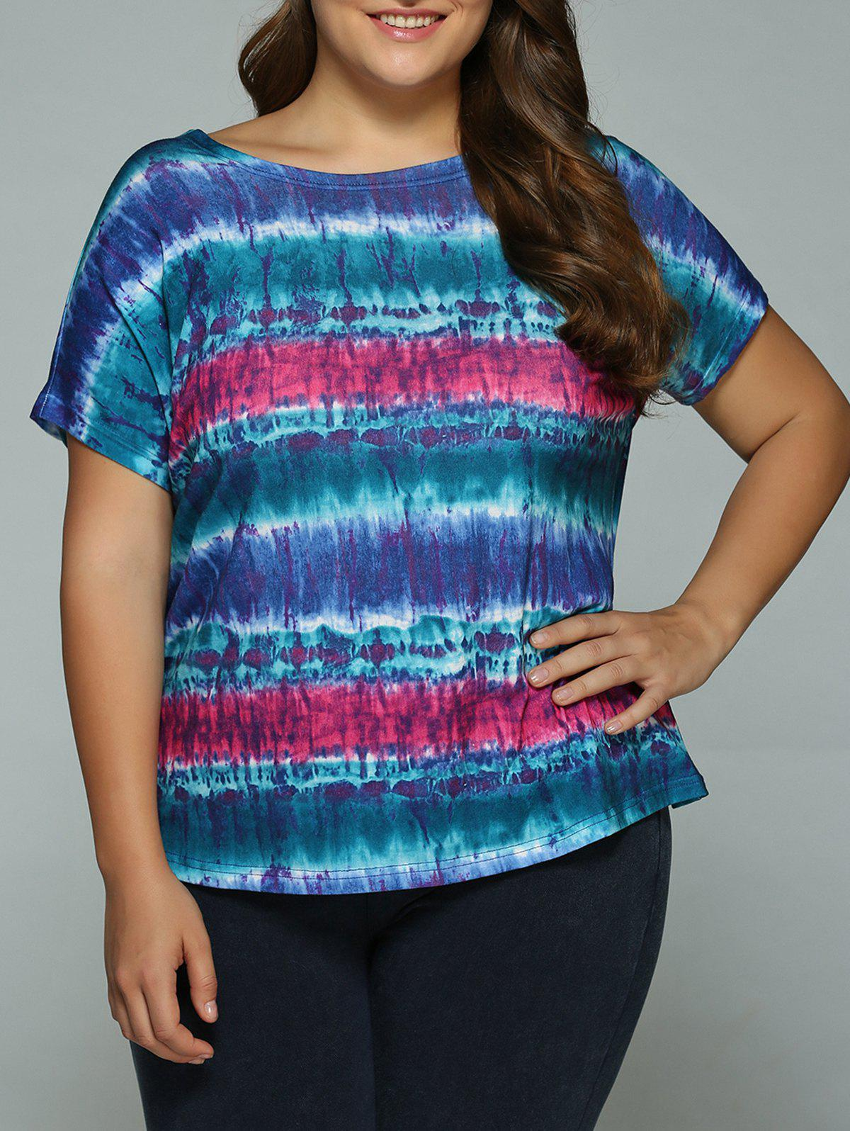 Buy Plus Size Tie-Dye T-Shirt BLUE/PINK