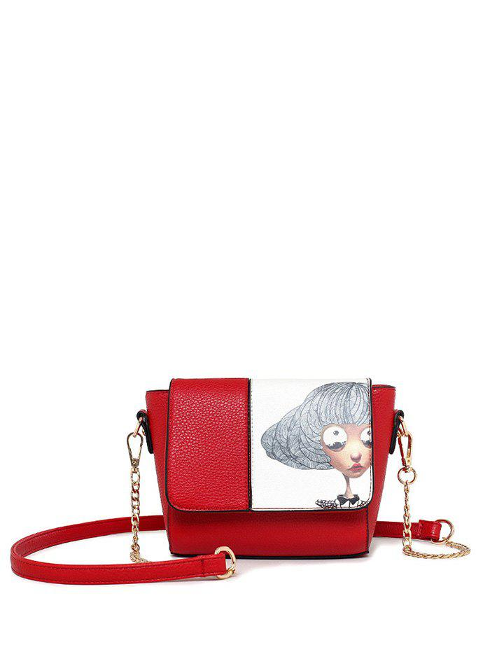 Chain Colour Spliced Characters Printed Crossbody Bag