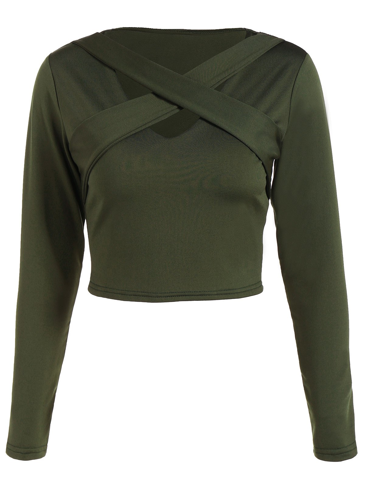 Front Cross Crop TopWomen<br><br><br>Size: S<br>Color: ARMY GREEN