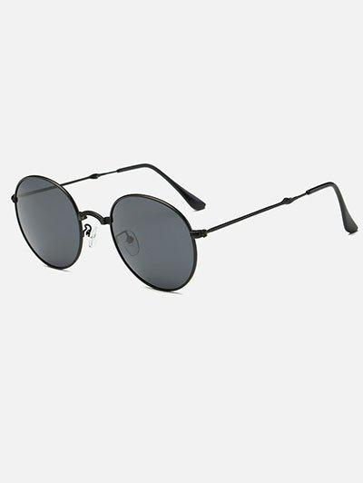 Vintage Metal Cambered Nose Bridge Oval Sunglasses - BLACK