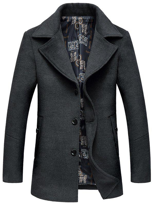 Manteau avec Boutonnage Simple en Laine - gris XL