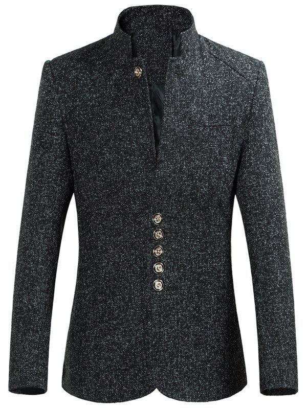 Stand Collar Slim-Fit multi Bouton Heather Blazer - Noir L