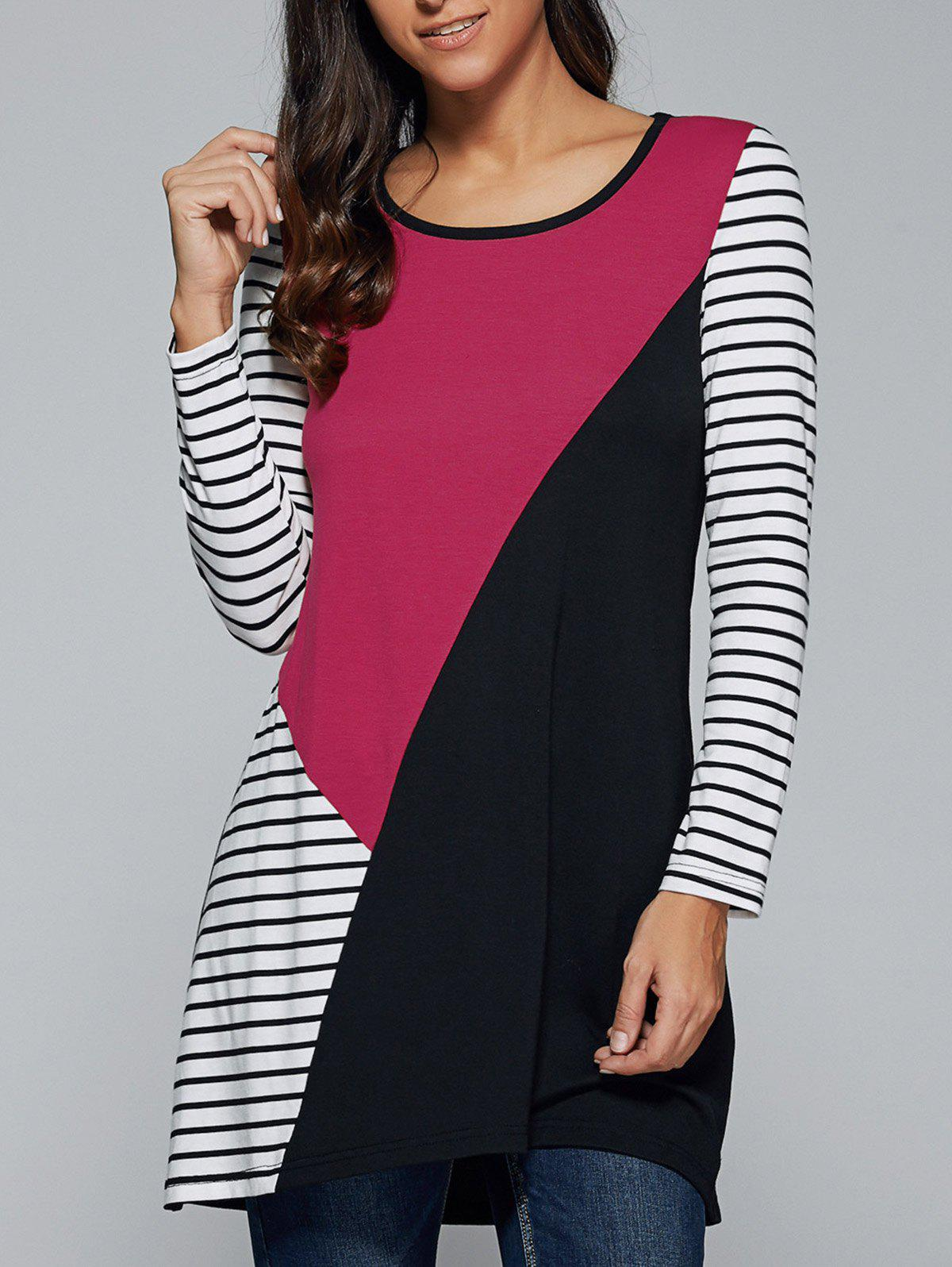 Striped Patchwork T-Shirt - STRIPE L