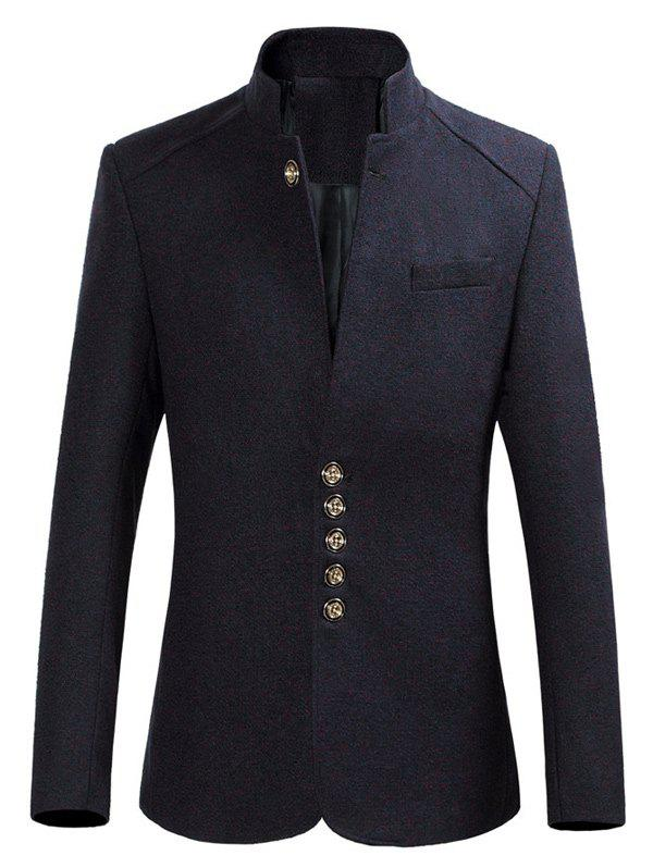 Stand Collar Slim-Fit multi Bouton Heather Blazer - Bleu Violet M