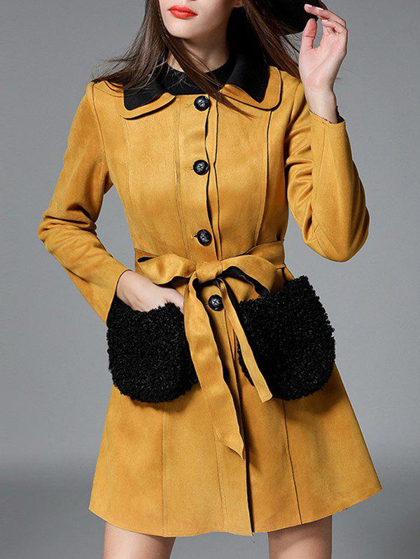 Suede Button-Down Fur Pockets Coat - DEEP YELLOW 2XL