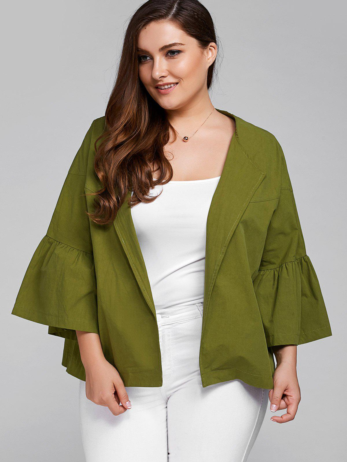 Lantern Sleeve Plus Size JacketWomen<br><br><br>Size: 2XL<br>Color: ARMY GREEN