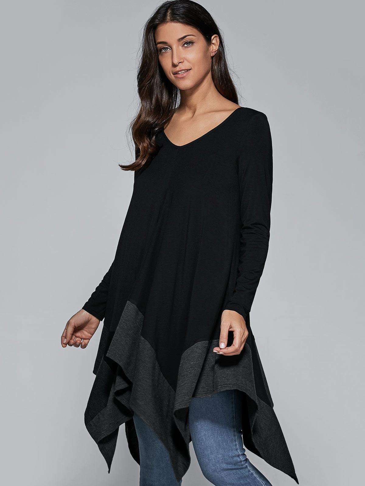 Loose Fitting Handkerchief BlouseWomen<br><br><br>Size: S<br>Color: BLACK AND GREY