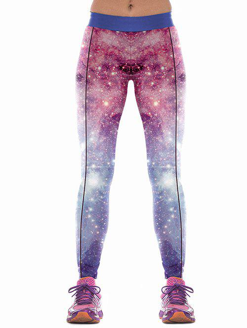 Colorful Sky Print Skinny Sports Pants