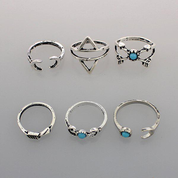 Faux Turquoise Triangle Lune Bague - Argent ONE-SIZE