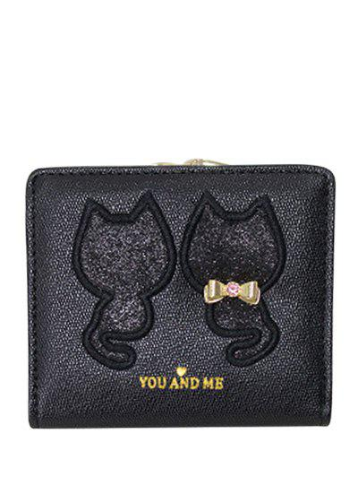 Motif Paillettes Bow animal Wallet - Noir