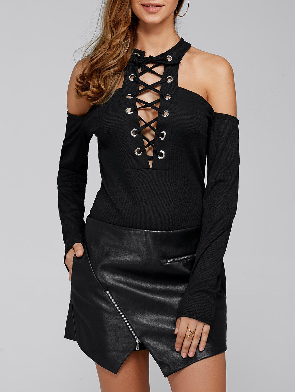 Criss Cross Plunging Neck Cold Shoulder Lace-Up Bodysuit criss cross lace up bodysuit