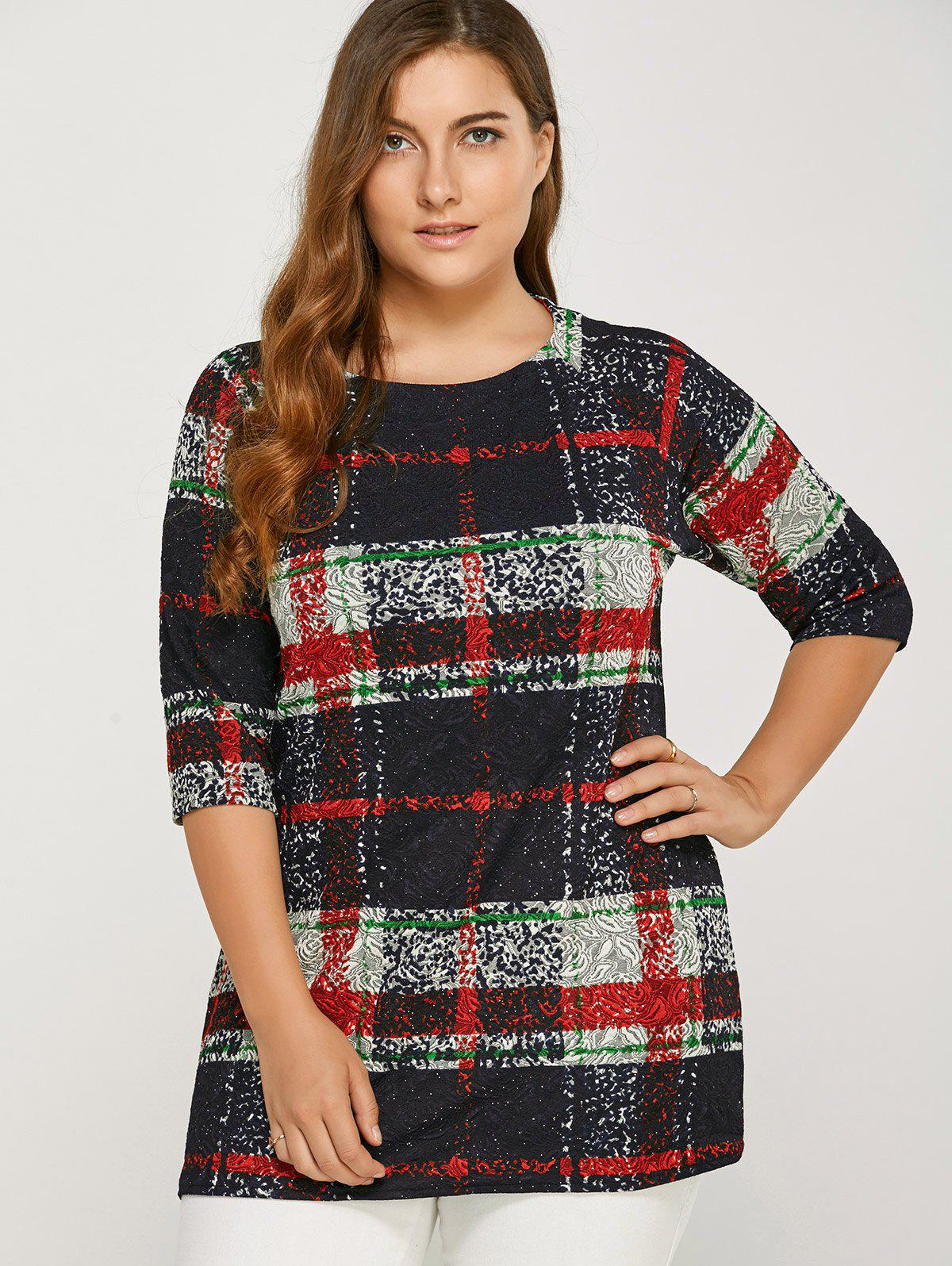 Buy Plus Size Plaid Tee RED
