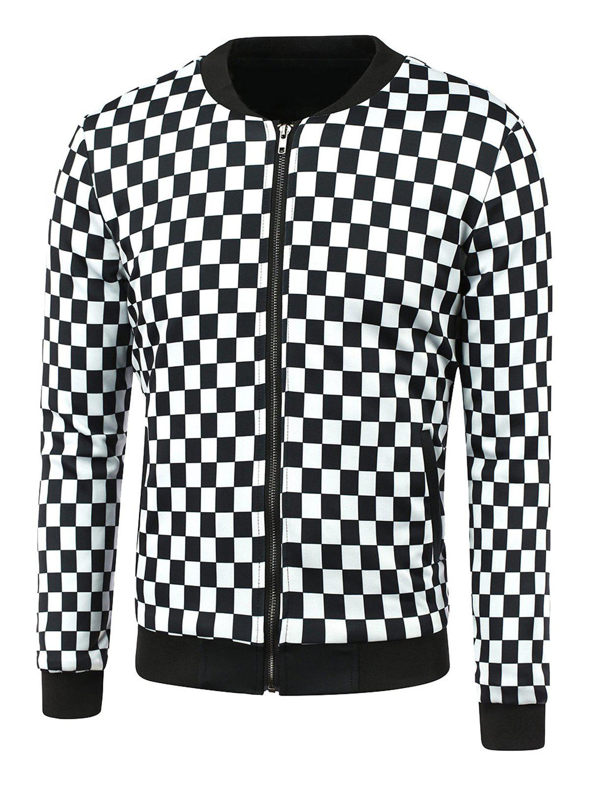 Grid Print Zip-Up Jacket grid pattern rib insert zip up jacket