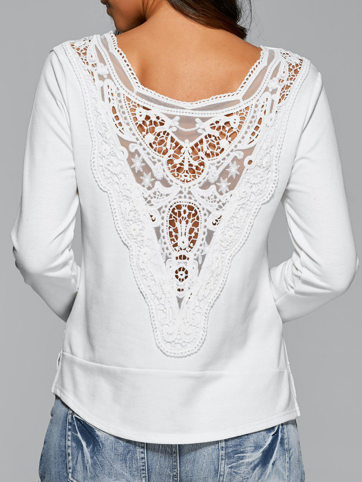 Long Sleeve Lace Back T-Shirt - WHITE S
