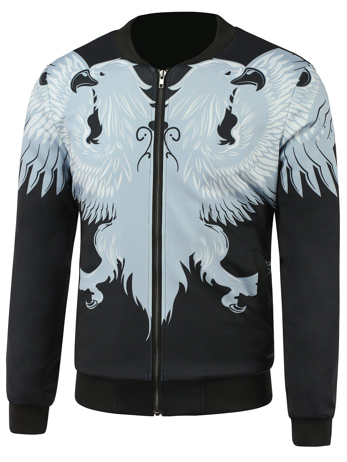Zip Up Stand Collar Animal Printed Jacket zip up all over animal printed hooded jacket