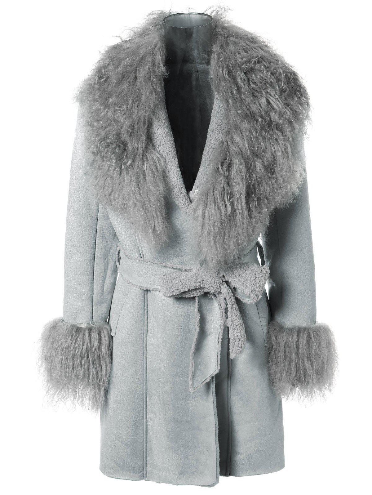 Belted Faux Lamb Wool Coat - LIGHT BLUE ONE SIZE