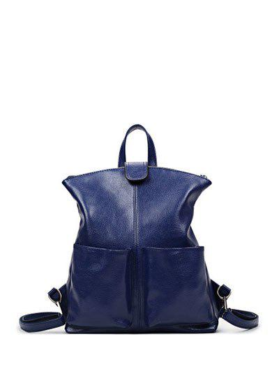 Magnetic Closure PU Leather Double Pocket Backpack - DEEP BLUE