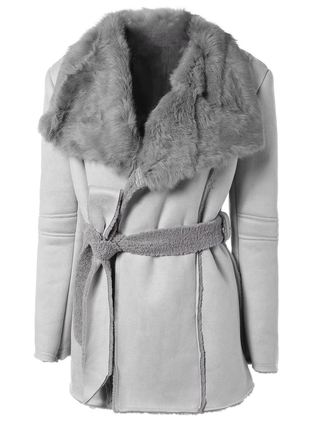 Image of Belted Faux Lamb Wool Coat With Rabbit Fur