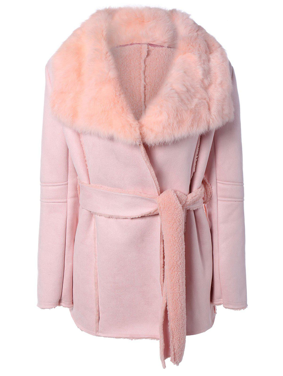 Belted Wrap Faux Lamb Wool Coat With Rabbit Fur - PINK ONE SIZE