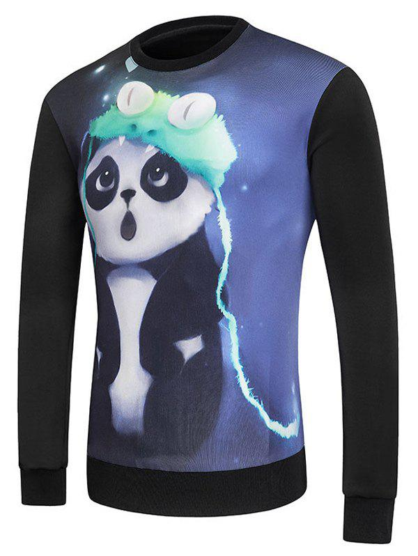 3D Panda Printed Round Neck Long Sleeve Men's Sweatshirt - BLACK S