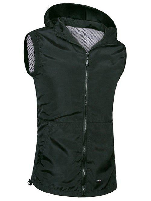 Brief Style Zipper Flying Casual Hooded Vest For Men - BLACK 4XL