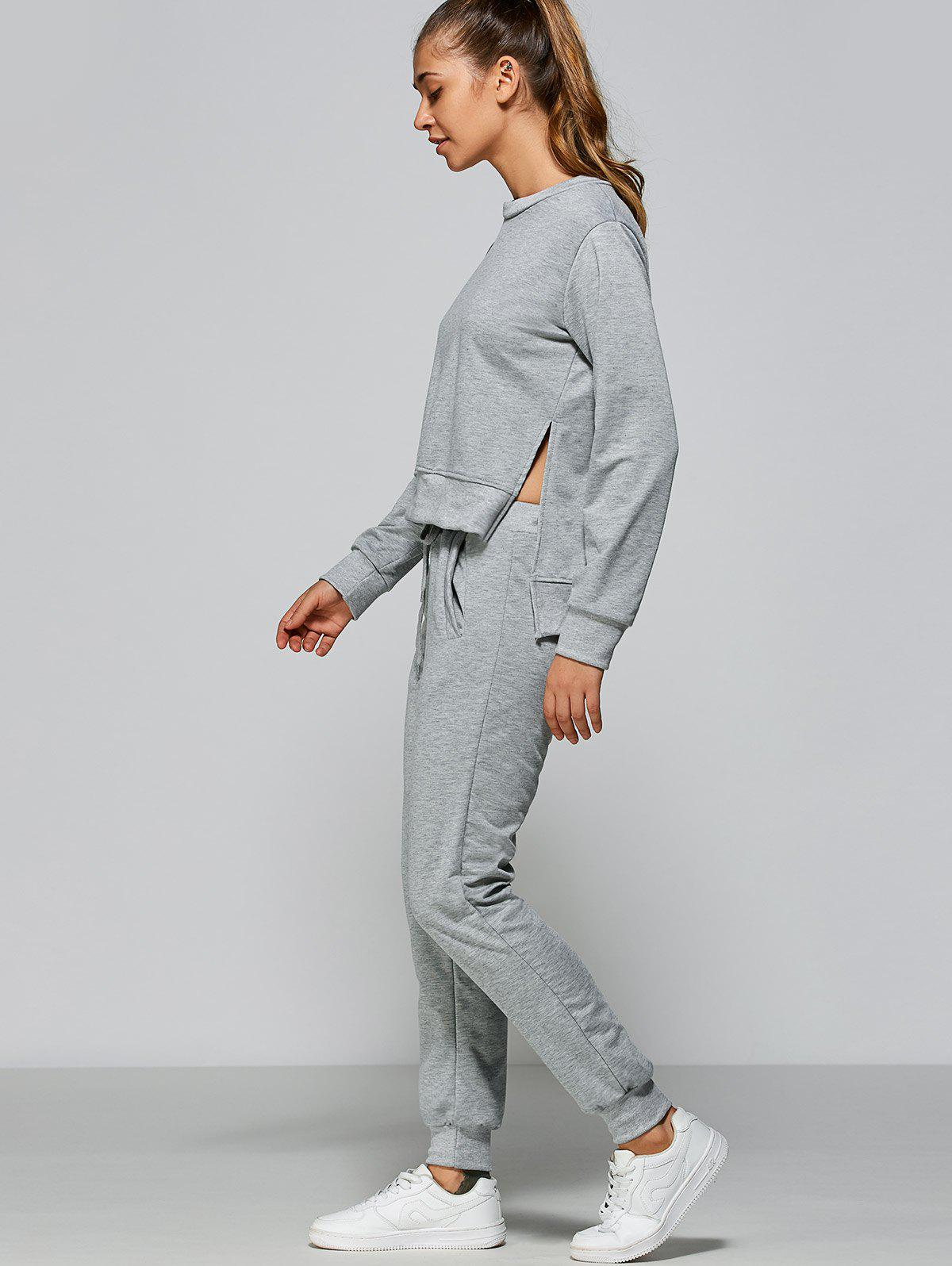 High Low Sweatshirt + Sweatpants - GRAY XL