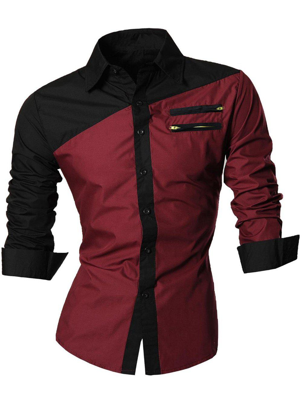 Zipper Embellished Long Sleeve Color Block Shirt - WINE RED M