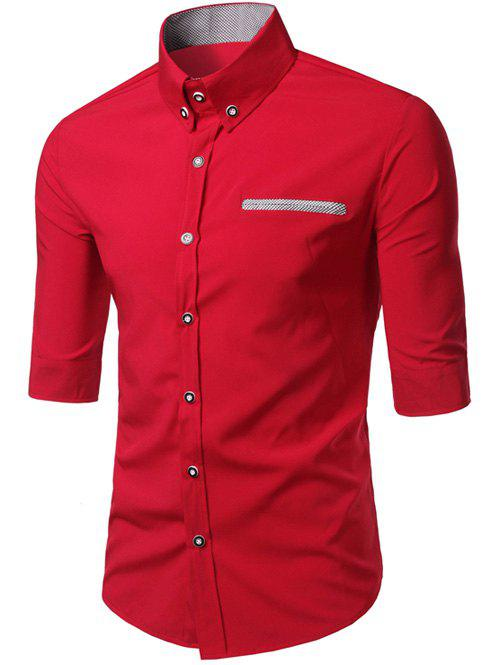 Edging Design Turn-Down Collar Men's Shirt