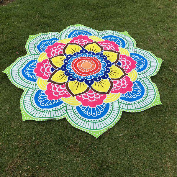 Multicolor Indian Mandala Lotus Shape Beach Throw - GREEN ONE SIZE