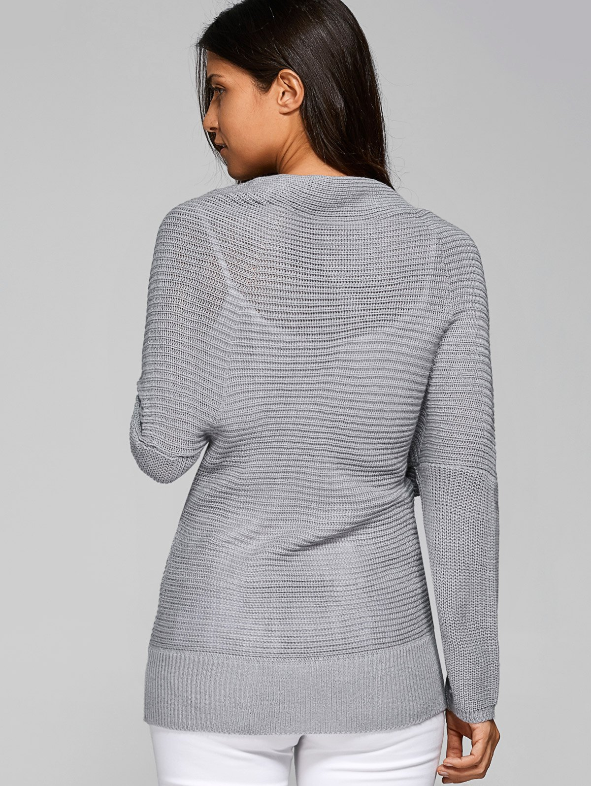 Automne Infini Wrap Sweater - Gris Clair ONE SIZE
