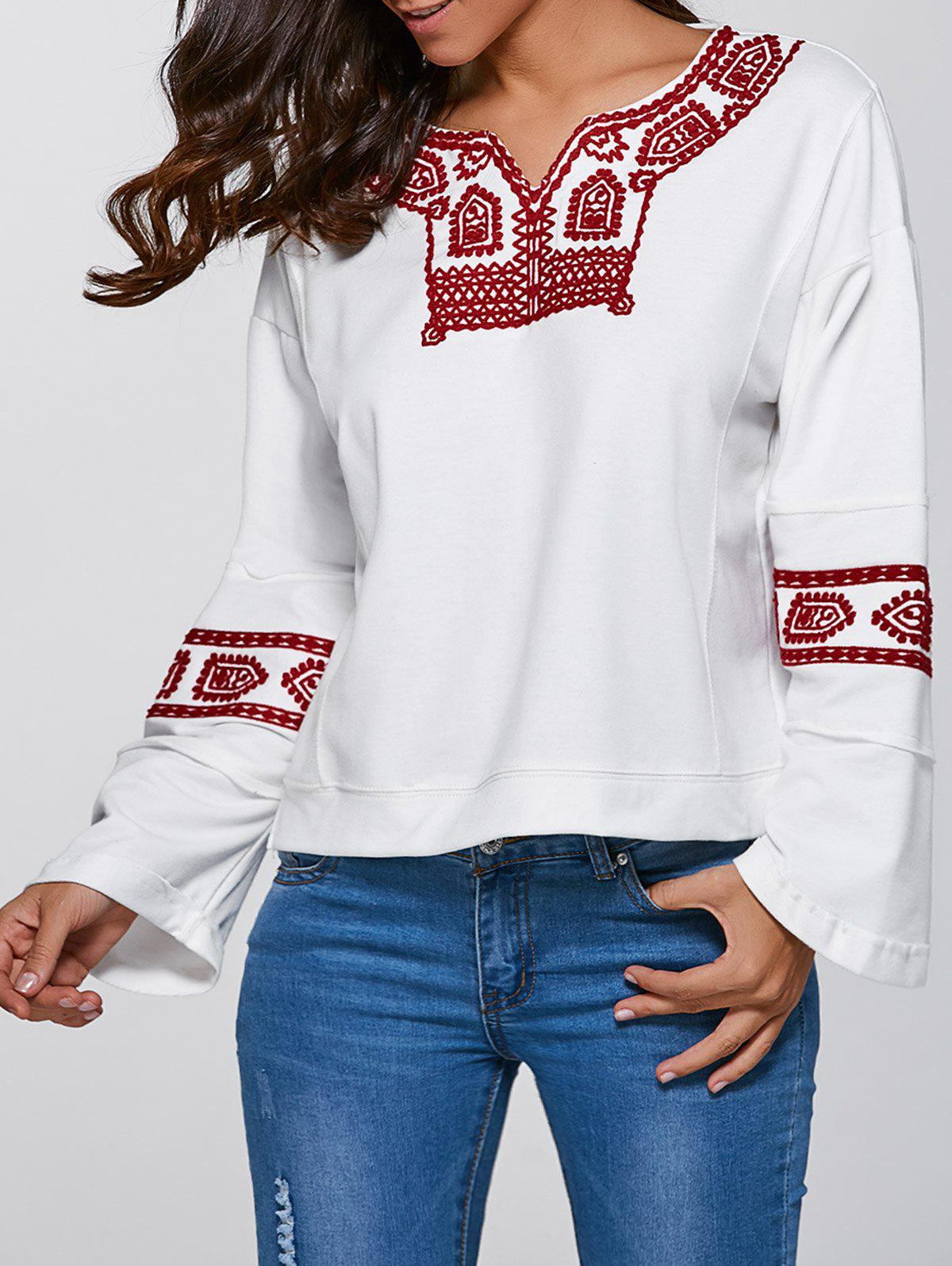 V Neck Pullover Sweatshirt - WHITE S