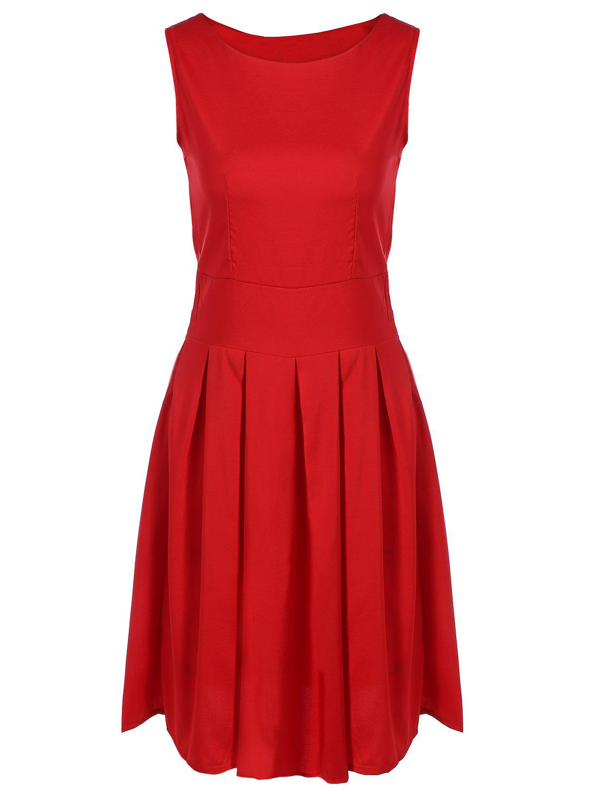 Scoop Neck Vintage Swing DressWomen<br><br><br>Size: 2XL<br>Color: RED