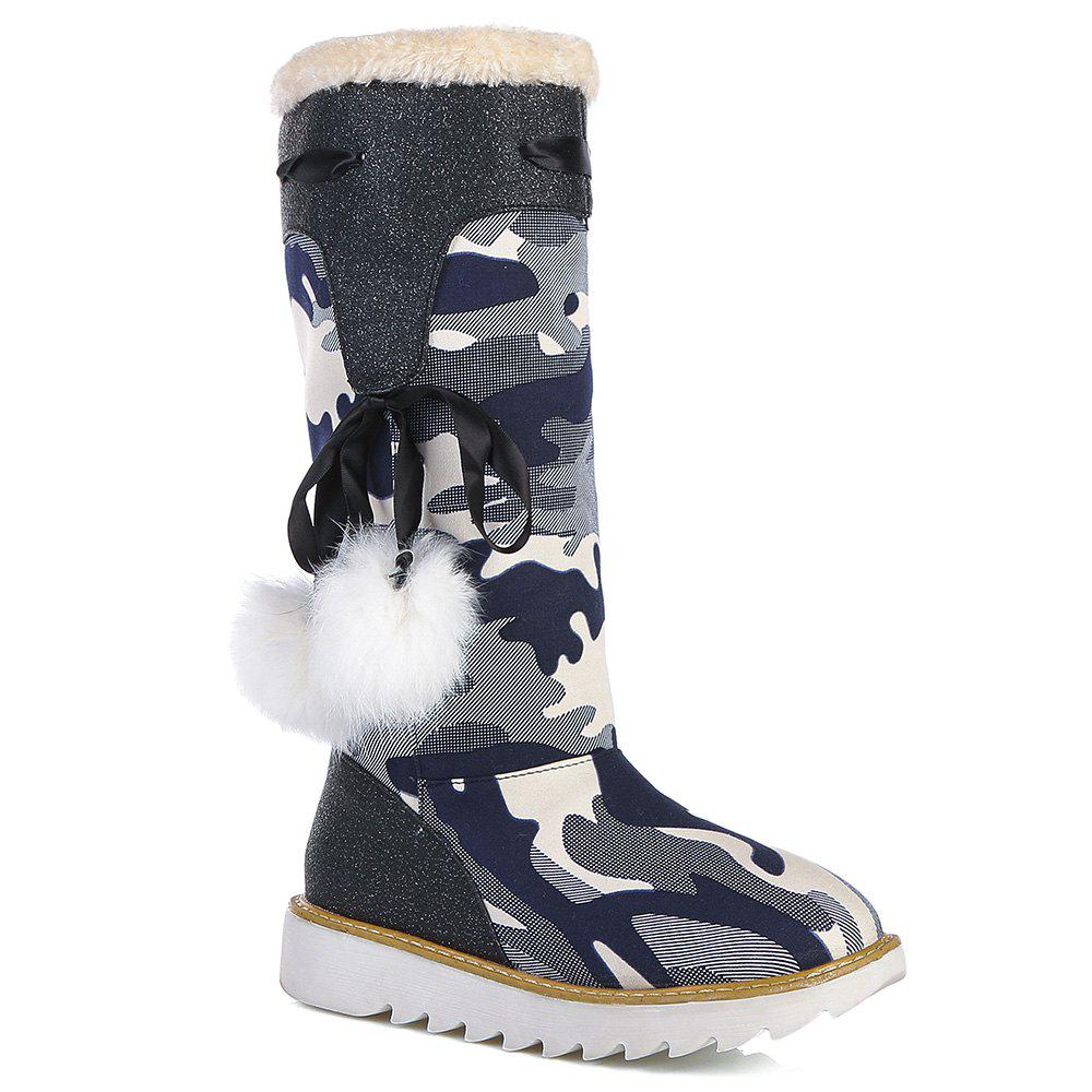 Casual Camouflage Print Pompon Flat Heel Boots