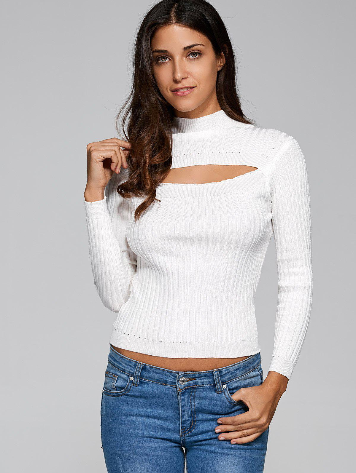 Buy Cut Chest Ribbed Knitwear WHITE