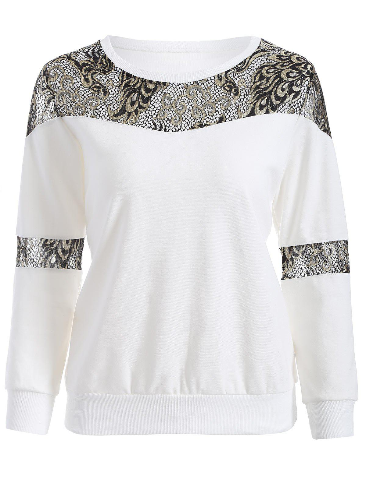 Empiècements en dentelle Sweatshirt - Blanc 2XL