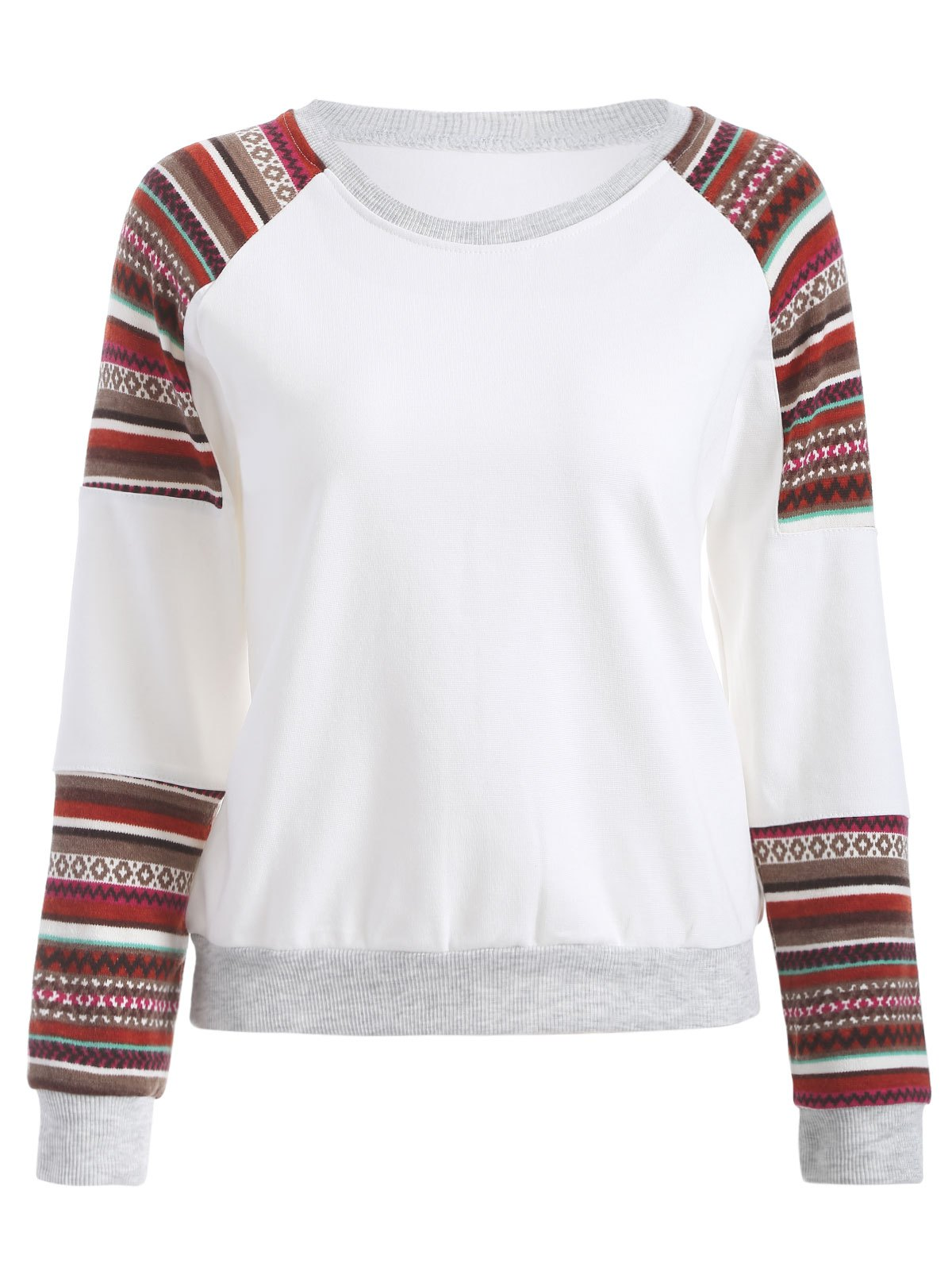 Tribal Print Sleeve Crew Neck Sweatshirt - WHITE M