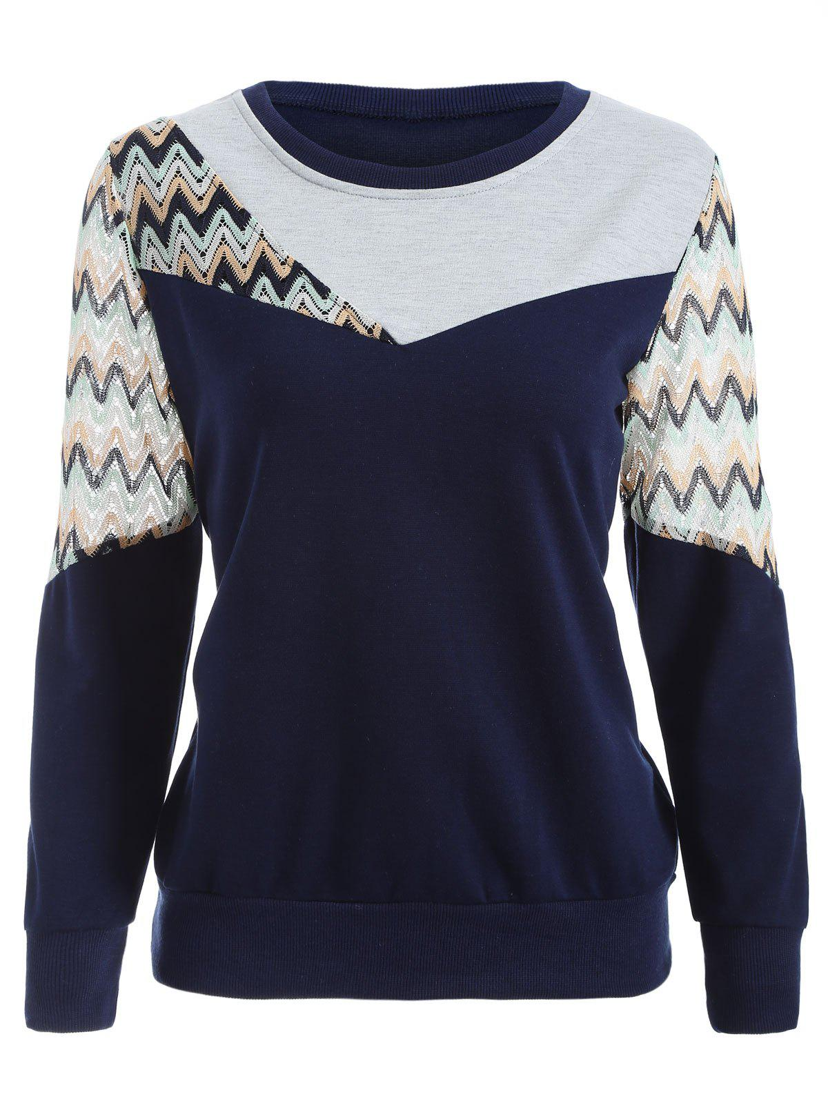 Crew Neck Panelled Sweatshirt - PURPLISH BLUE M