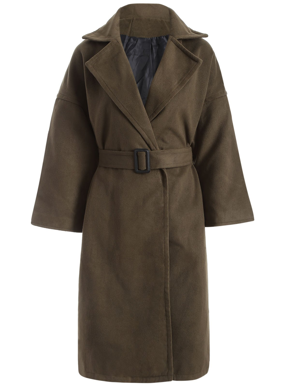 Belted Wool Blend Midi Coat - ARMY GREEN M