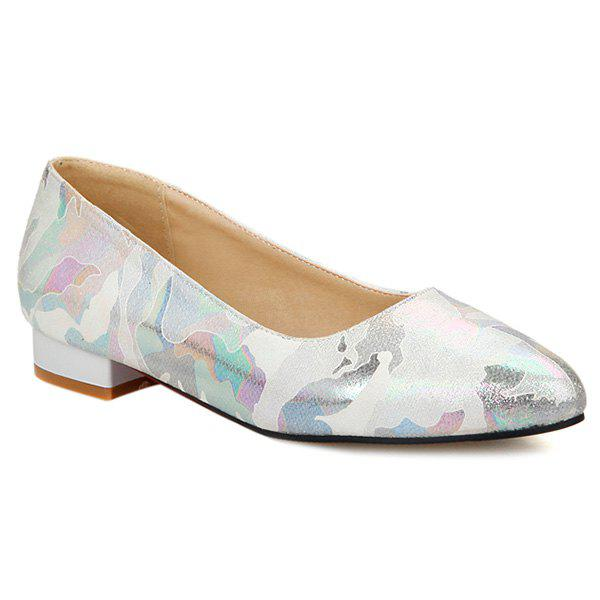 PU Leather Printed Colour Spliced Flat ShoesShoes<br><br><br>Size: 37<br>Color: OFF-WHITE