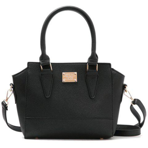 PU Leather Metallic Zip Tote Bag - BLACK