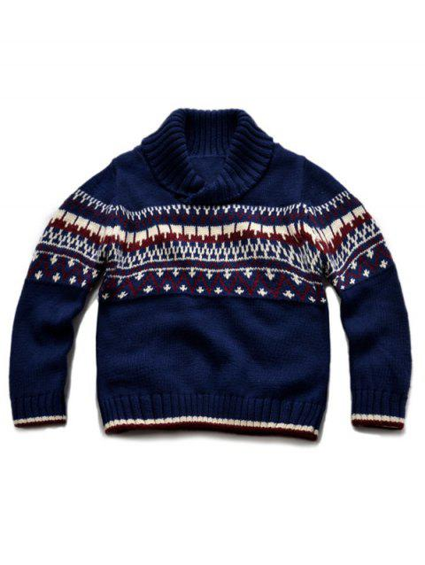 Turtle Neck Pullover Knitted Sweater - PURPLISH BLUE 90
