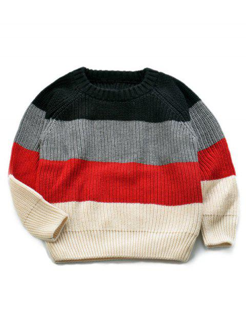 Stripe Knitted Pullover Sweater - COLORMIX 130