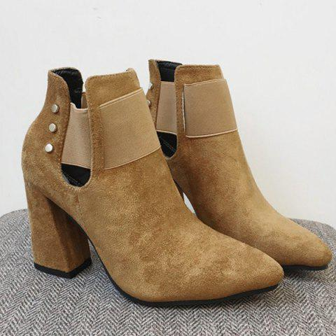 Pointed Toe Suede Elastic Band Ankle Boots - SAND YELLOW 38