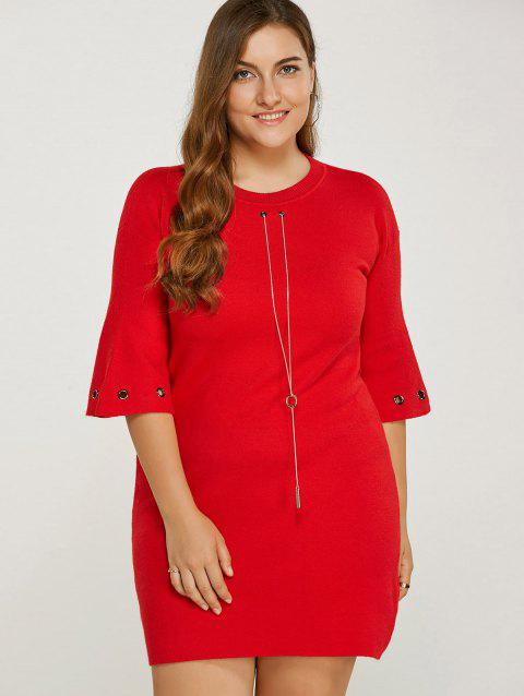 Plus Size Knitted Dress - RED ONE SIZE