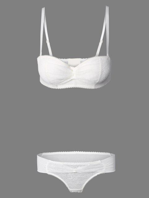 See-Through brodé Bra Set - Blanc 75A