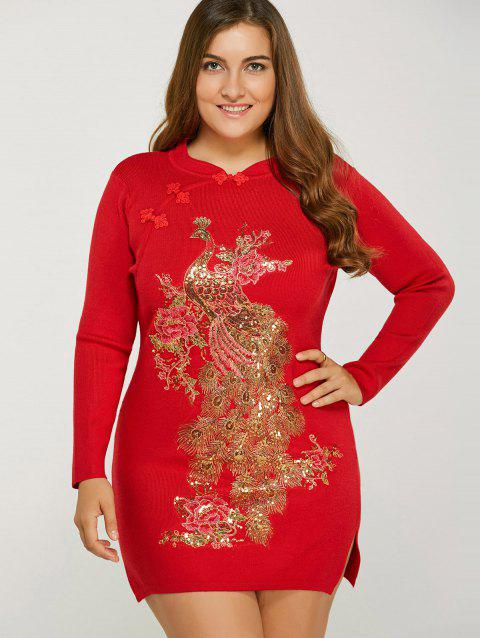 Vintage Plus Size Glitter Sequin Jumper Dress with Sleeves - RED ONE SIZE