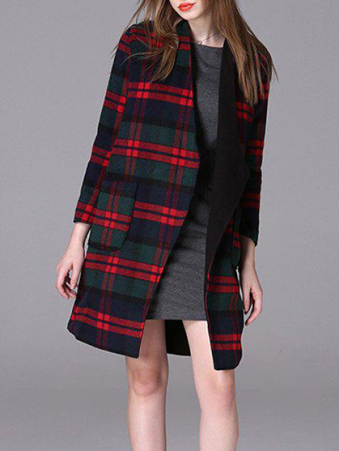 Plaid Loose Woolen Coat - RED S